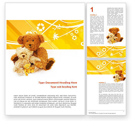 Holiday/Special Occasion: Teddy Bear Word Template #02901