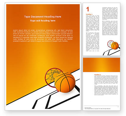 Basketball Word Template, 02904, Sports — PoweredTemplate.com