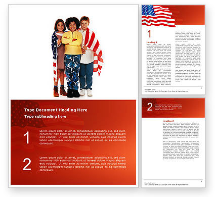 Holiday/Special Occasion: American Children Word Template #02928