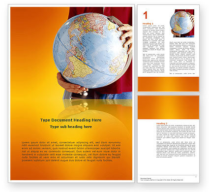 Global: World in Your Hand Word Template #02954