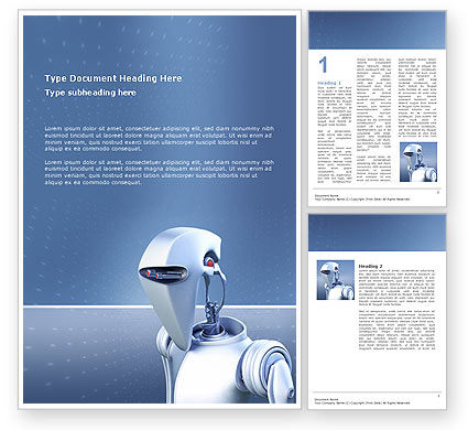 Robot Word Template, 02958, Technology, Science & Computers — PoweredTemplate.com