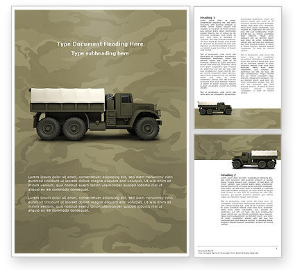Military: Military Truck Word Template #02962