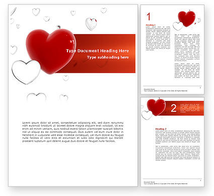 Holiday/Special Occasion: Hearts Word Template #02969