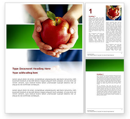 Nature & Environment: Apple In Handen Word Template #02992