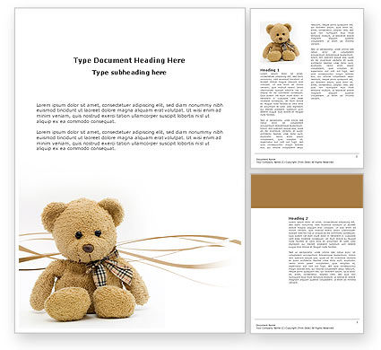 Holiday/Special Occasion: Teddy Bear On A White Background Word Template #02999