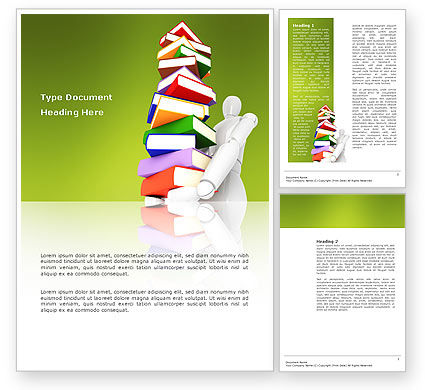 Education & Training: Books Stack In Hands Word Template #03029