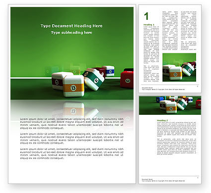 Business Concepts: Cubic Billiard Balls Word Template #03036