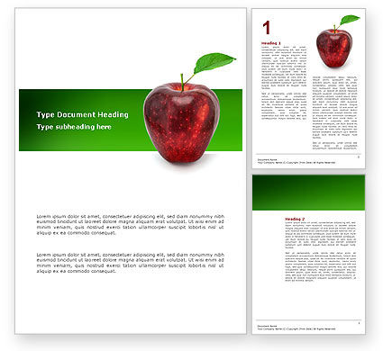 Agriculture and Animals: Red Apple Word Template #03041