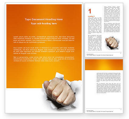 Business Concepts: Fist Of Force Word Template #03043