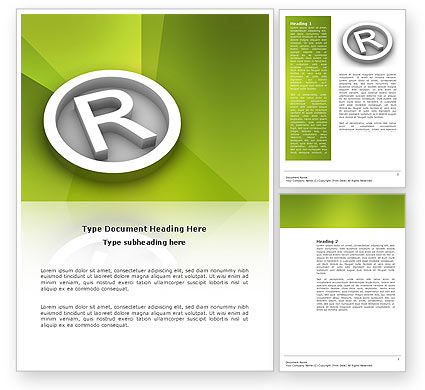 Registered Trademark Word Template, 03046, Legal — PoweredTemplate.com
