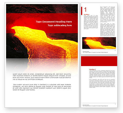 Nature & Environment: Volcano Lava Word Template #03049