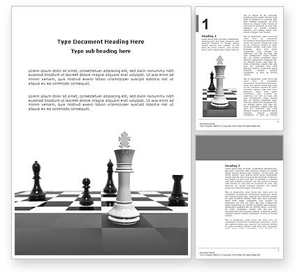 Business Concepts: Chess White Begin And Win Word Template #03069