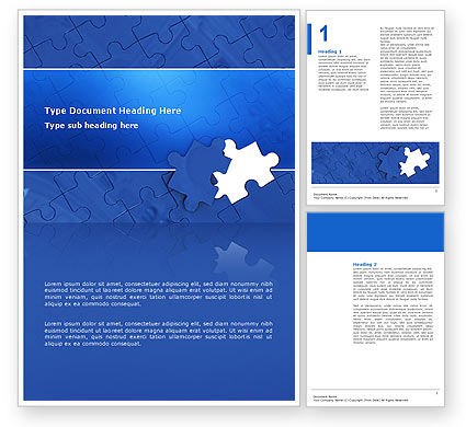 Blue Jigsaw Word Template, 03070, Business Concepts — PoweredTemplate.com
