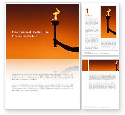 Olympic Torch Word Template, 03087, Sports — PoweredTemplate.com