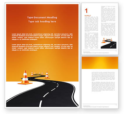 Road Work Word Template, 03104, Cars/Transportation — PoweredTemplate.com