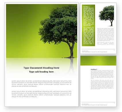 Nature & Environment: Green Tree On Light Olive Background Word Template #03109