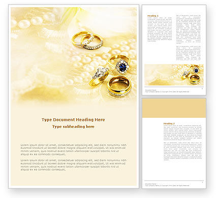 Precious Rings Word Template, 03116, Careers/Industry — PoweredTemplate.com