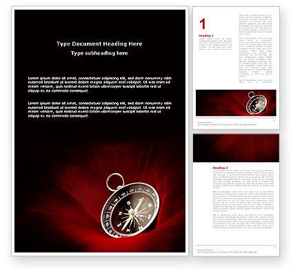 Compass In A Dark Red Velvet Word Template, 03130, Business Concepts — PoweredTemplate.com