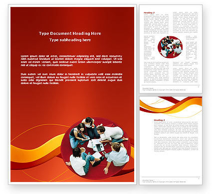 Young Team Work Word Template, 03135, Education & Training — PoweredTemplate.com
