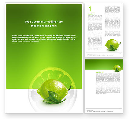 Agriculture and Animals: Green Lemon Word Template #03153