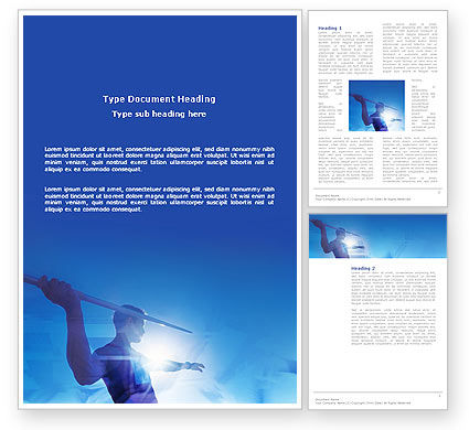 Javelin Throwing Word Template, 03157, Sports — PoweredTemplate.com
