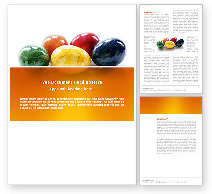 Holiday/Special Occasion: Colored Easter Eggs Word Template #03164
