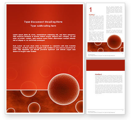 Medical: Red Spheres Word Template #03177