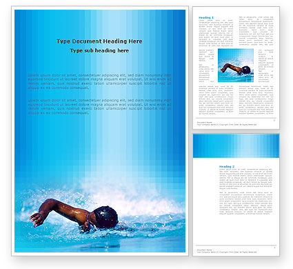 Construction: Swimming Word Template #03186