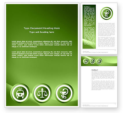 Medical: Signs Of Medicine In A Green Colors Word Template #03195