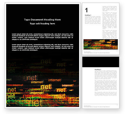 Telecommunication: Internet Virtual Space Word Template #03197