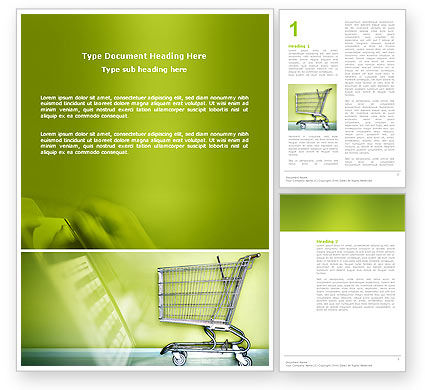 Shopping Cart On Olive Background Word Template