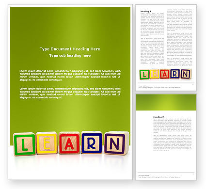 Learning Cubes Word Template, 03216, Education & Training — PoweredTemplate.com
