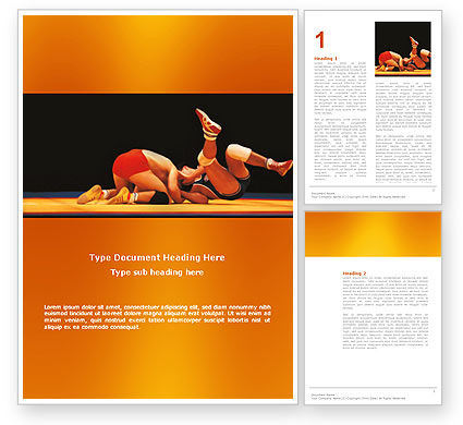 Wrestlers Word Template, 03231, Sports — PoweredTemplate.com