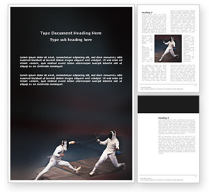 Fencing Bout Word Template, 03232, Sports — PoweredTemplate.com
