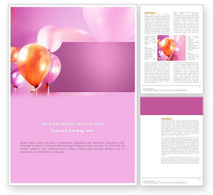 Balloons Word Template, 03250, Holiday/Special Occasion — PoweredTemplate.com