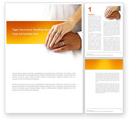 Hand In Hand In Wedding Rings Word Template, 03274, Holiday/Special Occasion — PoweredTemplate.com