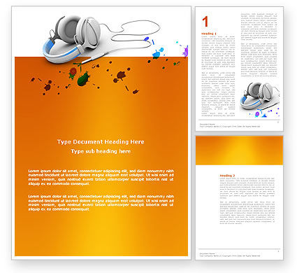 Technology, Science & Computers: Earphones Word Template #03283