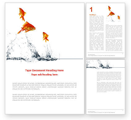 Jumping Goldfish Word Template, 03286, Agriculture and Animals — PoweredTemplate.com