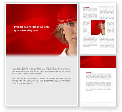 Lady in Red Word Template, 03292, People — PoweredTemplate.com