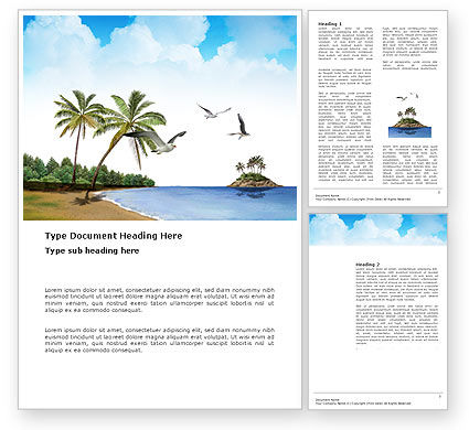 Tropic Island Word Template, 03297, Nature & Environment — PoweredTemplate.com