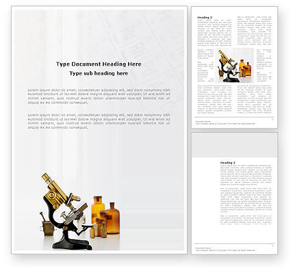 Microscope Word Template, 03316, Medical — PoweredTemplate.com