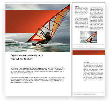 Orange Windsurf In A Gray Sea Word Template, 03325, Sports — PoweredTemplate.com