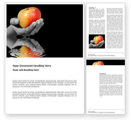 Reflection Of Apple In Hand Word Template, 03326, Business Concepts — PoweredTemplate.com
