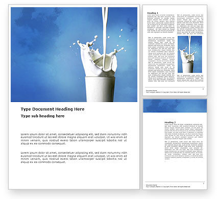 Glass Of Milk Word Template, 03357, Food & Beverage — PoweredTemplate.com