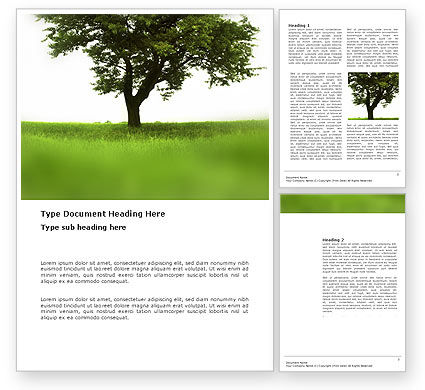 Nature & Environment: Tree On A Green Meadow Word Template #03358