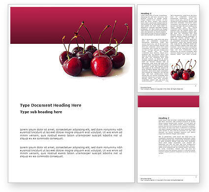 Agriculture and Animals: Ripe Cherries Word Template #03367