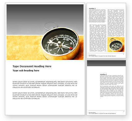 Pocket Compass On The Table Word Template, 03370, Business Concepts — PoweredTemplate.com