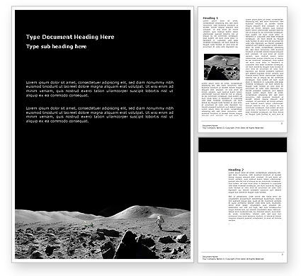 Technology, Science & Computers: Moon Landscape Word Template #03373