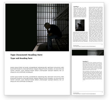 Legal: Prison Cell With Prisoner Word Template #03377