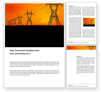 Transmission Facilities Word Template, 03380, Utilities/Industrial — PoweredTemplate.com